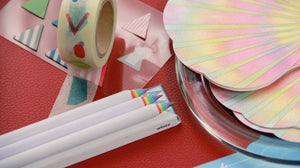Duncan Shotton Design Studio Rainbow Pencils, pearlescent notecards, washi tape and sticky markers