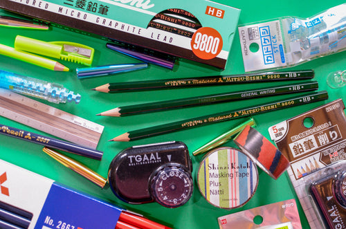 Mitsubishi pencils, highlighter pencil, multi-lead sharpener, washi tape. Midori aluminium ruler