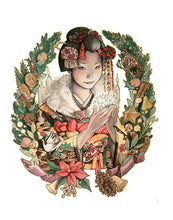 """Christmas Maiko"" Greeting Card by Erica Ward Illustration"
