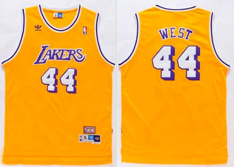 b901ddacd 44 Jerry West - Los Angeles Lakers - Retro Yellow Mens Kobe Bryant  Authentic White Adidas Jersey NBA ...