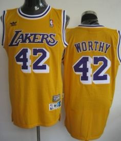 eb5443f14c5 ... 42 James Worthy - Los Angeles Lakers - Retro Yellow ...