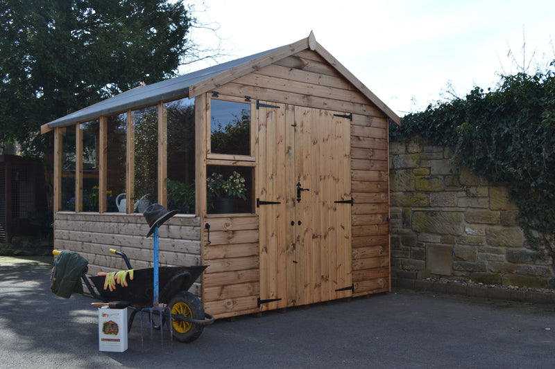 Kew potting shed with optional extra half door.
