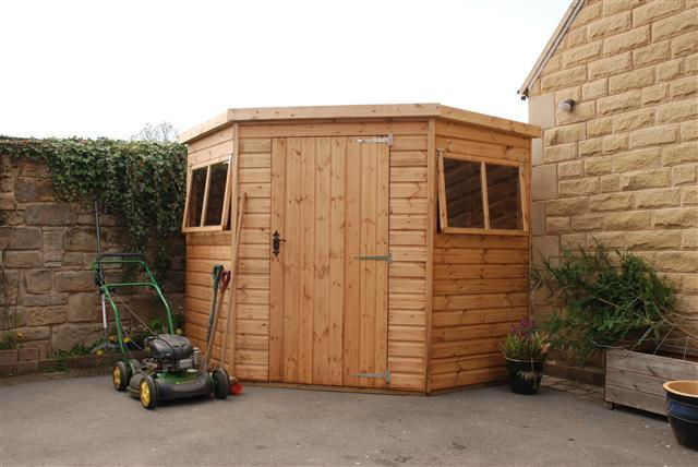 Clayton corner shed with extra wide door & opening windows as standard