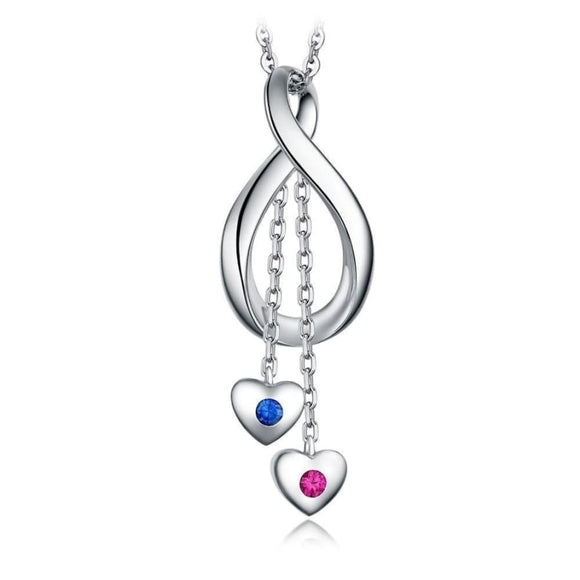 2 Dangle Hearts Pendant Jewelry 2019 Gemstone Jewelry Type_Pendants & Necklaces New Silver Jewelry New Trends