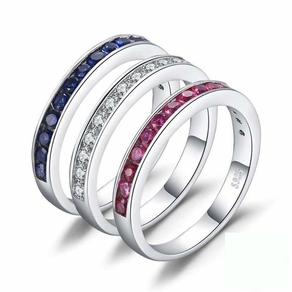 3 Color Silver Ring Set 6 Jewelry 2019 Gemstone Jewelry Type_Sterling Silver Rings Jewelry Type_Sterling Silver Sets New