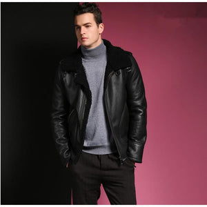 3 Colors Shearling Jacket Blue / M Men Coat/jacket Leather Mens Gifts_Leather Cots & Jackets New Trends Plus Size