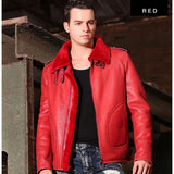 3 Colors Shearling Jacket Red / M Men Coat/Jacket Leather Mens Gifts_Leather Cots & Jackets New Trends Plus Size