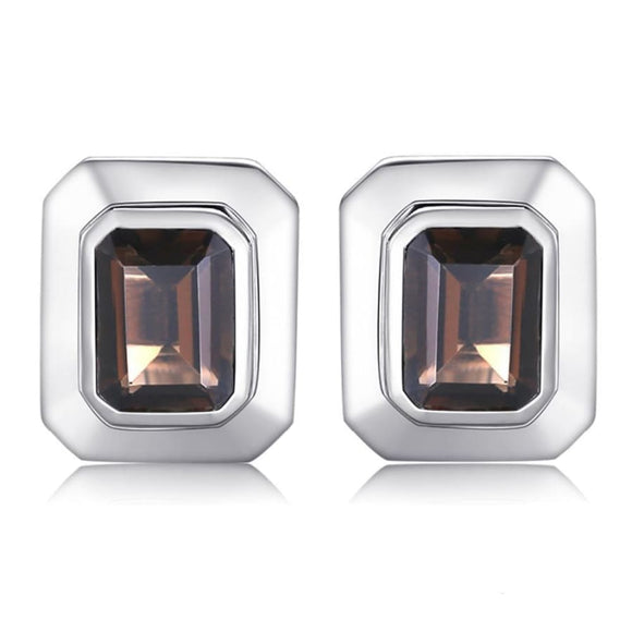 4ct Natural Smoky Quartz Cufflinks Brown Men Mens Gifts_Jewelry & Watches New Trends Silver Smokey Quartz Trends 2019