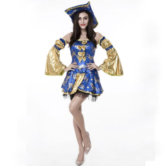 Adult Women costume party blue gold noble caribbean pirate dress L / Blue/Gold Costume 2019 Clothing Type_Halloween Costumes Costume New