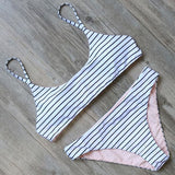 Aerial Mid Cut Bikini Set White Striped / L Swimsuit Bikini Set Clothing Type_Bikini Set New Trends S-2 Season_Summer