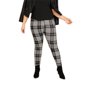 Amayra Plaid Tights Bottoms Black Calf-Length Clothing Type_Leggings Clothing Type_Pants Elastic Waist