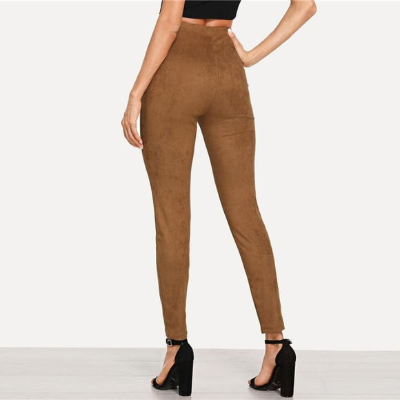 Amelie Moser Suede Leggings Bottoms Ankle-Length Broadcloth Brown Casual Clothing Type_Leggings
