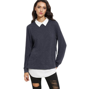 Amina 2 In 1 Sweatshirt Gray / Xs Tops Blouse Broadcloth Casual Clothing Type_Tops & Blouses Colorblock