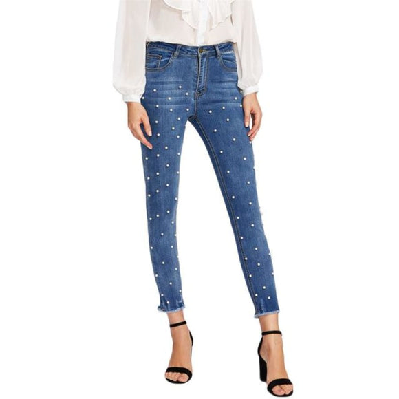 Anastasia Skinny Denim Jeans Blue / S Bottoms Ankle Length Bleach Wash Blue Casual Clothing Type_Jeans