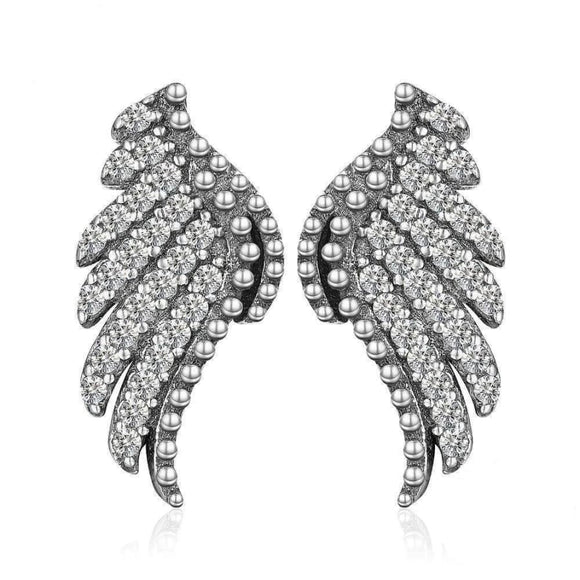 Angle Wings Stud Earrings Jewelry 2019 CZ Earrings Jewelry Type_Sterling Silver Earrings New