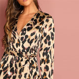 Anisha Leopard Wrap Dress Dresses 3/4 Sleeve A-Line Above Knee Blue Casual