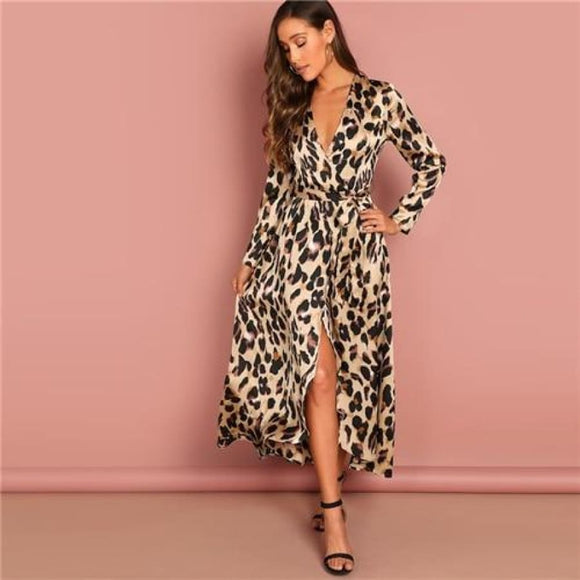 Anisha Leopard Wrap Dress Multi / XS Dresses 3/4 Sleeve A-Line Above Knee Blue Casual