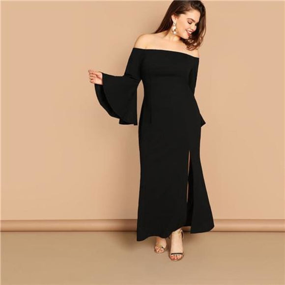 Ashley Split Maxi Dress Black / L Dresses Clothing Type_Dresses Empire Fabric has no stretch Fit and Flare L