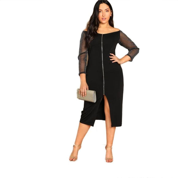 Astrid Mesh Sleeve Dress Dresses Black Clothing Type_Dresses Club Fabric has some stretch Half Sleeves
