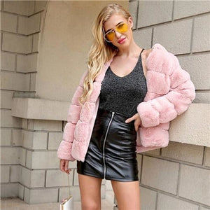 Auxane Pink Faux Fur Teddy Coat Coats & Jackets Clothing Type_Coats & Jackets Cotton Fabric Has No Stretch Faux Fur Long Sleeves