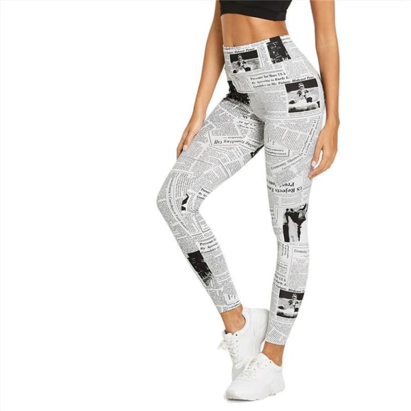 Beleza Highstreet Newspaper Print Leggings Bottoms Casual Clothing Type_Leggings Clothing Type_Pants Cotton L