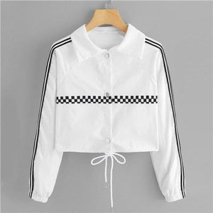Belladore Striped Tape Gingham Jacket Coats & Jackets Casual Clothing Type_Coats & Jackets Crop Fabric Has No Stretch Fall