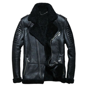 Biker Shearling Jacket Blue / M Men Coat/jacket Mens Gifts_Leather Cots & Jackets New Trends Plus Size Season_Fall