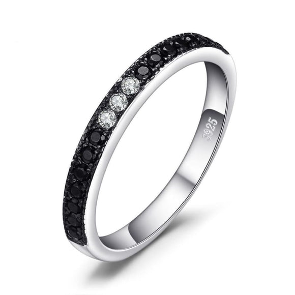 Black Spinel Band Ring 6 / Black Jewelry 2019 Gemstone Jewelry Type_Sterling Silver Rings New Silver Jewelry New Trends