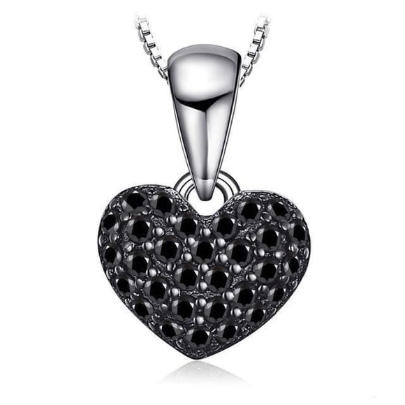 Black Spinel Heart Pendant Jewelry 2019 Gemstone Jewelry Type_Pendants & Necklaces New Silver Jewelry New Trends