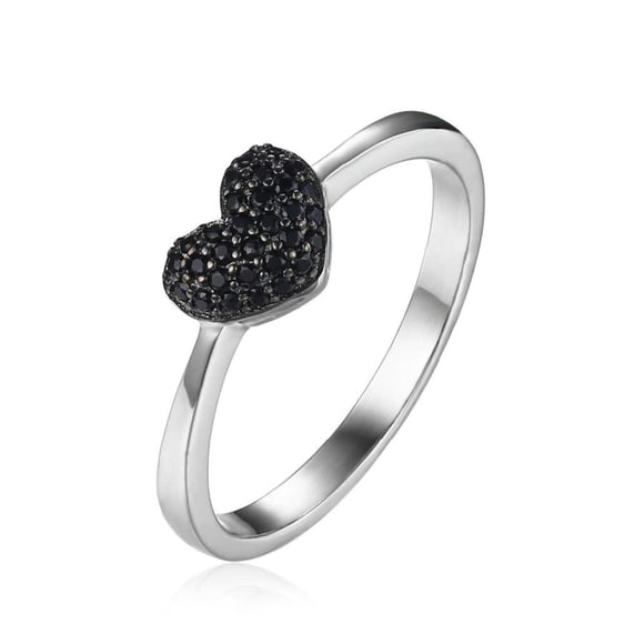 Black Spinel Heart Silver Ring Jewelry 2019 Gemstone Jewelry Type_Sterling Silver Rings New Silver Jewelry New Trends