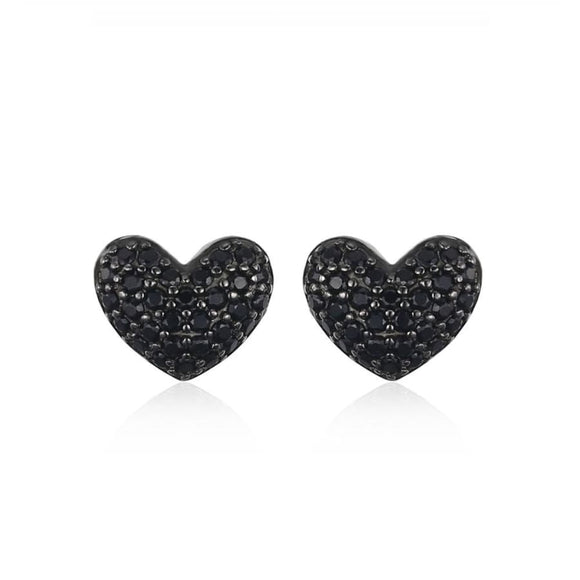 Black Spinel Heart Silver Stud Earrings Jewelry 2019 Earrings Gemstone Jewelry Type_Sterling Silver Earrings New Silver Jewelry