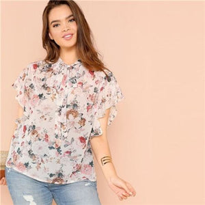 Breanna Floral Top Tops Butterfly Sleeve Clothing Type_Tops & Blouses Cotton Floral L