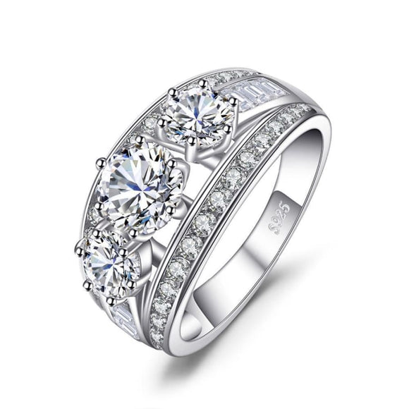 Bridal 2.9 ct CZ Ring 6 / White Jewelry 2019 Gemstone Jewelry Type_Sterling Silver Rings New Silver Jewelry New Trends