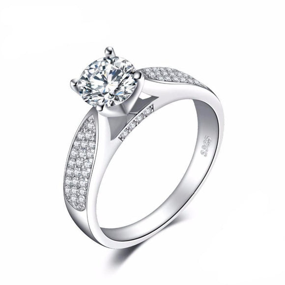 Bridal Cz Solitaire Ring 6 / White Jewelry 2019 Gemstone Jewelry Type_Sterling Silver Rings New Silver Jewelry New Trends