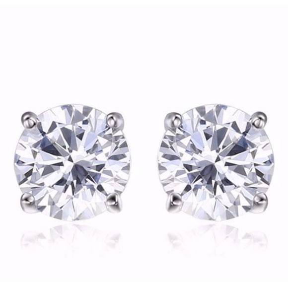 Bridal Round CZ Stud Earrings White Jewelry 2019 Earrings Gemstone Jewelry Type_Sterling Silver Earrings New Silver Jewelry