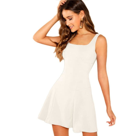 Carmen Lace Up Dress Dresses Above Knee Casual Clothing Type_Dresses Fabric has no stretch Fit and Flare