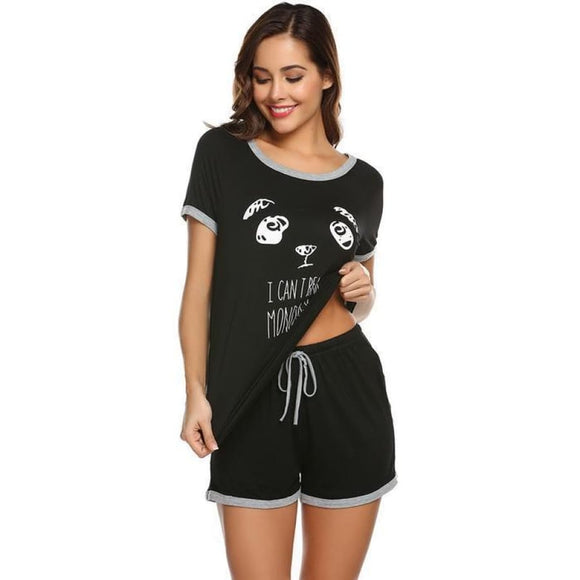 Cartoon Print Top & Shorts Pajama Set black / L Comfy Clothing Type_Pajamas & Slippers New New Trends Season_Summer Trends 2019