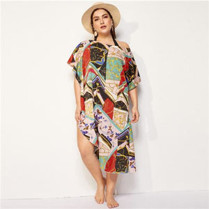 Caspian Asymmetric Cover Up Multi / XL Swimsuit Clothing Type_Cover Up New Trends Plus Size Season_Summer Swimwear