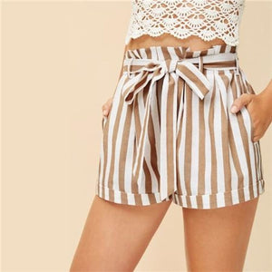 Cassidy Ruffle Shorts Bottoms Belted Casual Clothing Type_Shorts Cotton Elastic Waist