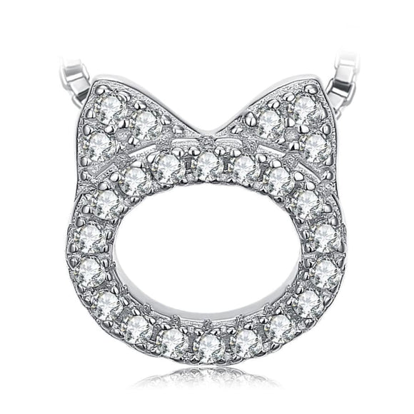 Cat Love CZ Pendant Necklace Jewelry 2019 CZ Jewelry Type_Pendants & Necklaces Necklace New Silver Jewelry