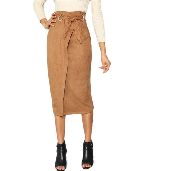 Catarina Brown Wrap Bodycon Skirt Bottoms Bow Brown Clothing Type_Skirts Elegant Fabric has some stretch