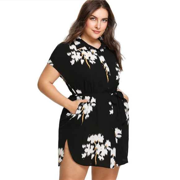 Charity Floral Dress Dresses Above Knee Batwing Sleeve Belted Button Casual