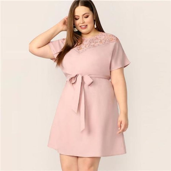 Chelsea Flare Sleeve Dress Pink / L Dresses A-Line Above Knee Butterfly Sleeve Clothing Type_Dresses Contrast Lace