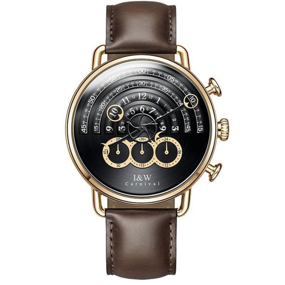 Chronograph Leather Wrist Watch Dark Brown Men Mens Gifts_Jewelry & Watches New Trends Trends 2019 Watch