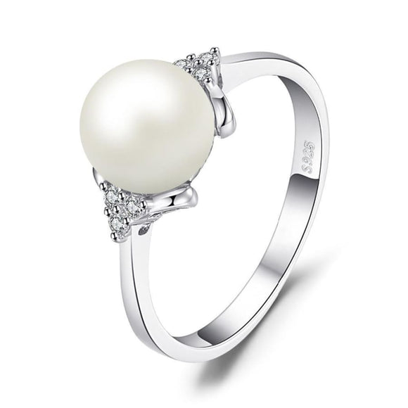 Classic Cultured Pearl Ring 6 / White Jewelry 2019 Gemstone Jewelry Type_Sterling Silver Rings New Silver Jewelry New Trends