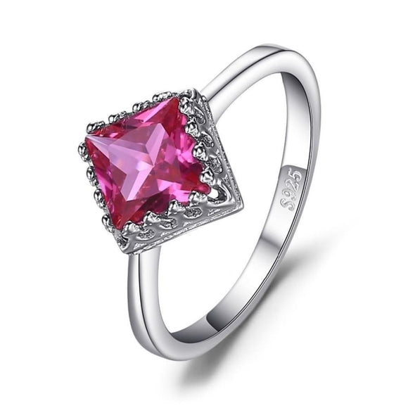 Classic Square Solitaire Engagement Ring 6 / Pink Jewelry 2019 Gemstone Jewelry Type_Sterling Silver Rings New Silver Jewelry New Trends