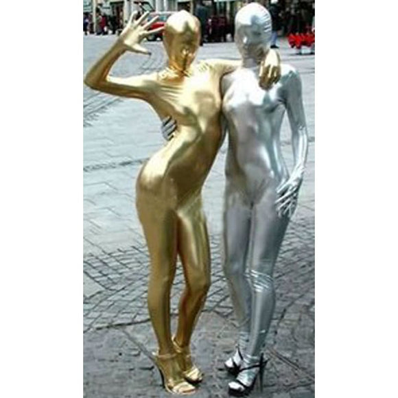Costume Party Gold & Silver Adult Womens/ Mens Pu Leather Full Body Zentai Suit Costume 2019 Clothing Type_Halloween Costumes Costume New