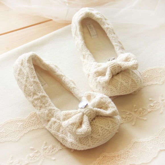 Cotton Cute Bow tie Slippers Comfy Clothing Type_Pajamas & Slippers New Trends Season_Fall Slippers Trends 2019