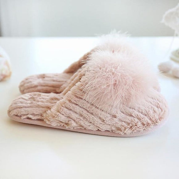 Cotton Hair Ball Slippers Pink / 5.5 Comfy Clothing Type_Pajamas & Slippers New Trends Season_Fall Slippers Trends 2019