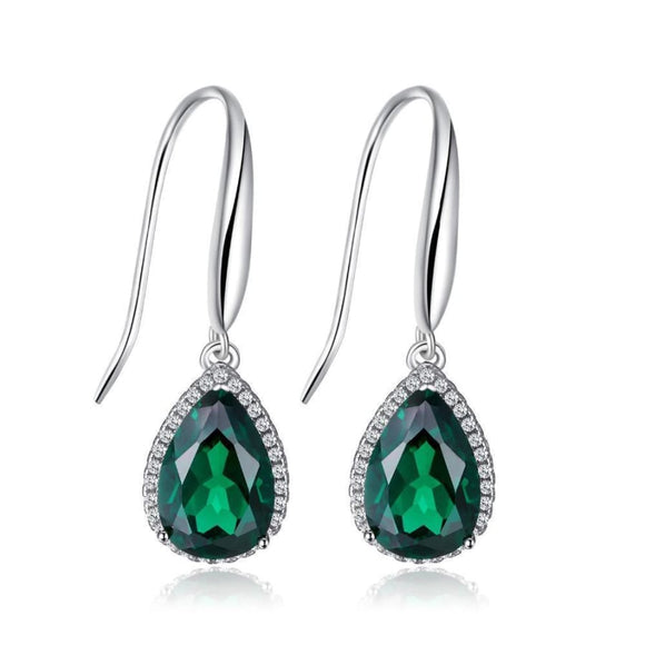 Created Emerald Drop Earrings Jewelry 2019 Earrings Gemstone Jewelry Type_Sterling Silver Earrings New Silver Jewelry